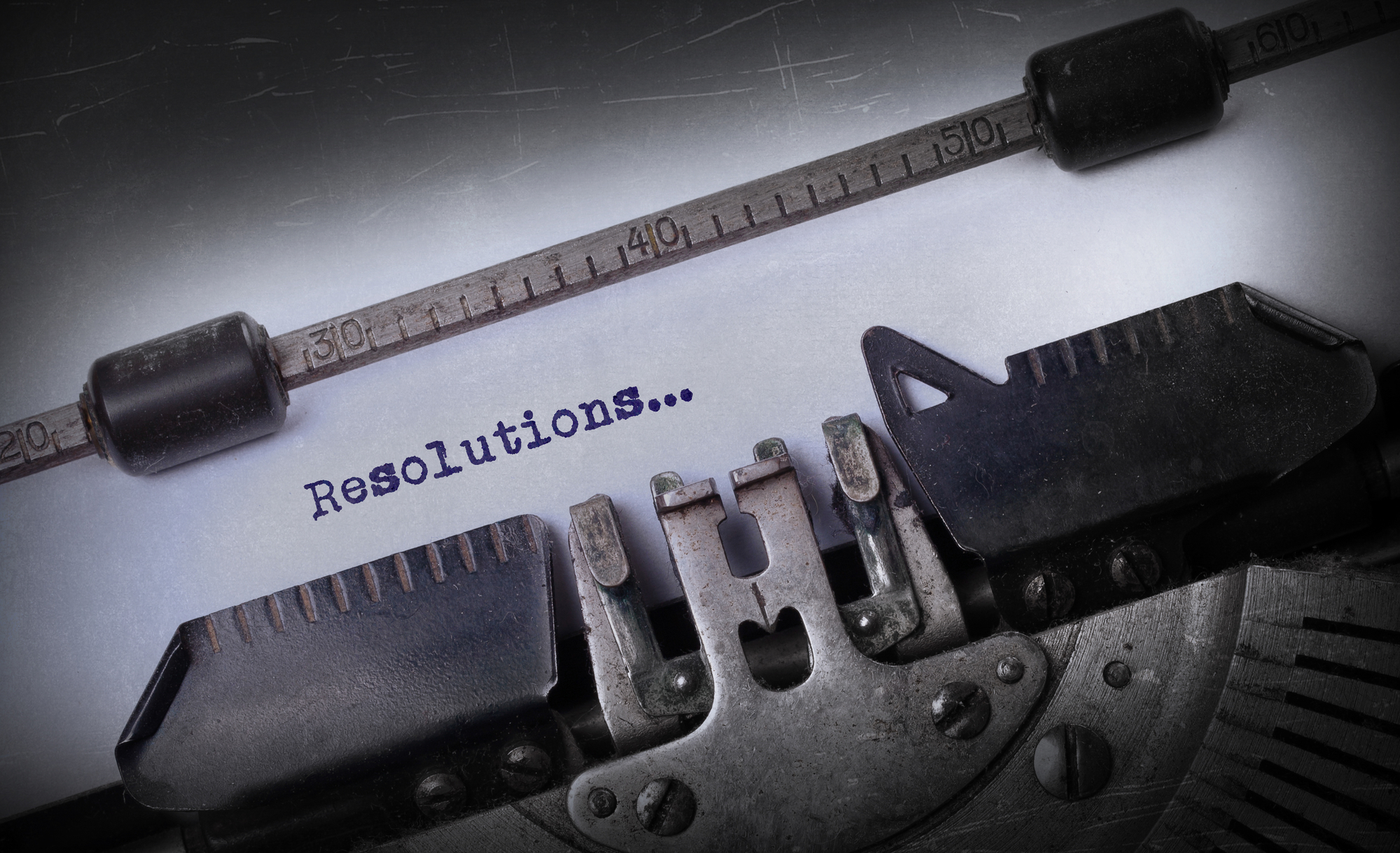 Vintage inscription made by old typewriter, Resolutions