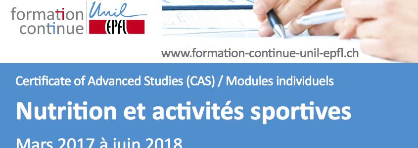 CAS Nutrition et Activités Physiques à Lausanne
