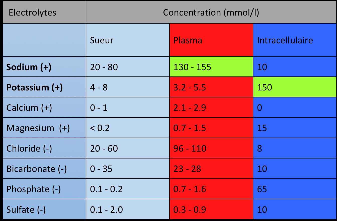 Concentration en électrolytes